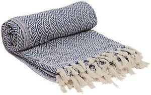 100% Cotton Southwest Chevron Herringbone Hand-Woven Throw Blanket Reversible