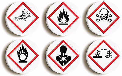 science hazard badge button pin set (size is 1inch/25mm diameter) geek costume