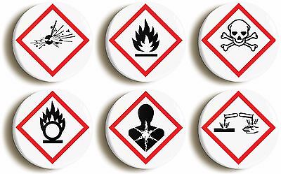 science hazard badge button pin set (size is 1inch/25mm diameter) geek costume