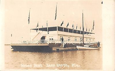c.1910? RPPC House Boat Lake Worth FL