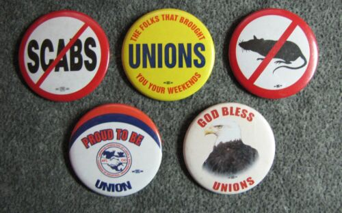 """5 Trade Union 2 1/4"""" Pinback Buttons ~ Picket Line Buttons - NO SCABS -  NO RATS"""