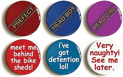 6x school disco fancy dress party badges buttons pins (1inch/25mm diamtr) sexy