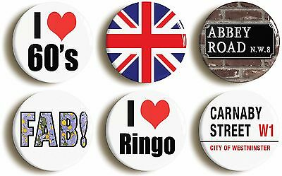 6 x sixties badges buttons pins (1inch/25mm diameter) 1960s themed fancy dress