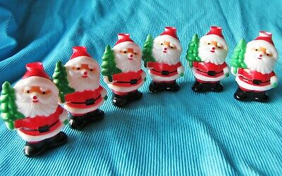 Lot of 6 Vtg Plastic Santa w Tree Blow Mold Christmas String Light Covers