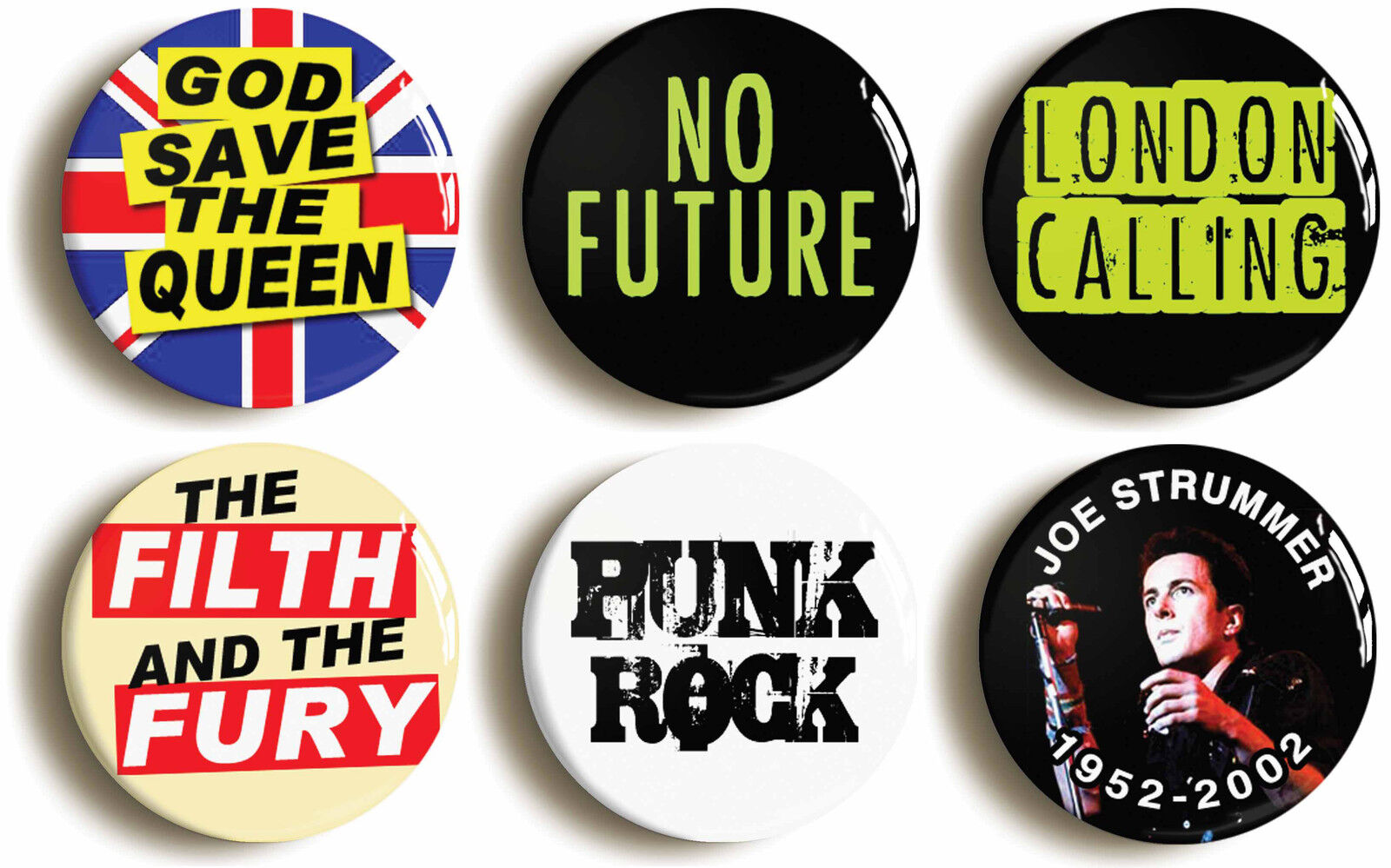 punk rock badge button pin set (size is 1inch/25mm diameter) fancy dress