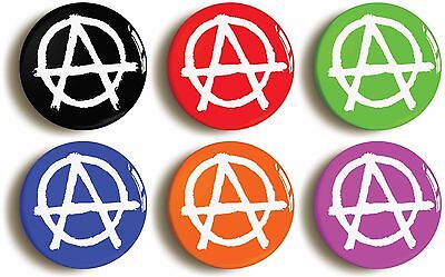 6 x punk anarchy seventies badges buttons pins (size is 1inch/25mm diameter)