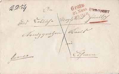 Vorphila Brief Zurück Gratz Recommandirt Hohenbruck Böhmen Königgrätz Dokument
