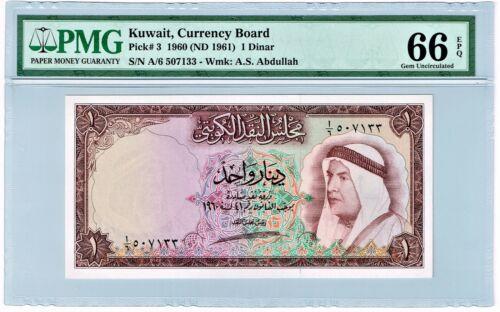 Kuwait: Kuwait Currency Board 1 Dinar 1960 (ND 1961) Pick 3 PMG Gem Unc. 66 EPQ
