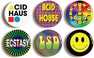 acid house badge button pin set (1inch/25mm diameter) retro ecstacy rave party