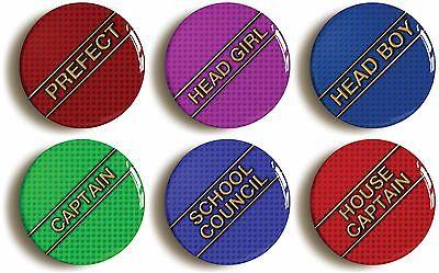 6 x school disco badges buttons pins (1inch/25mm diameter) fancy dress prefect