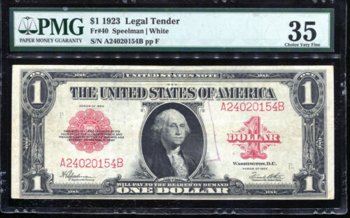 1923 Legal Tender Note RED SEAL FR#40 PMG Choice Very Fine 35 VF35 A24020154B