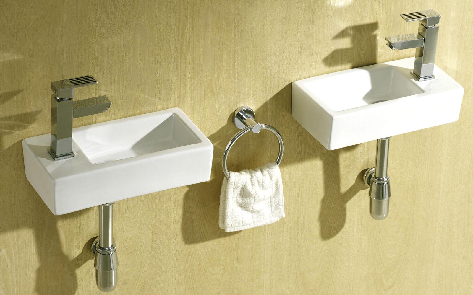 Slim Wall Hung Basin : ... Rectangle Cloakroom Basin Bathroom Sink Wall Hung 375 X 185 eBay