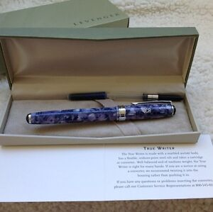 LEVENGER TRUE WRITER FOUNTAIN PEN PERIWINKLE MARBLED MEDIUM NIB NEW IN BOX #6