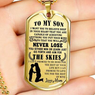 Dog Tag for Son Necklace Birthday Gift From Mom mother Best Gift for Children ()