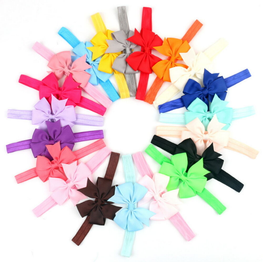 20Pcs Colors Newborn Baby Girl Headband Infant Toddler Bow Hair Band Accessories Baby