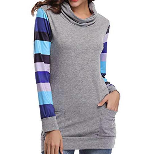 Women Sweatshirt Cover Collar Cowl Neck Floral Print Long Sleeve Tunic Blouse