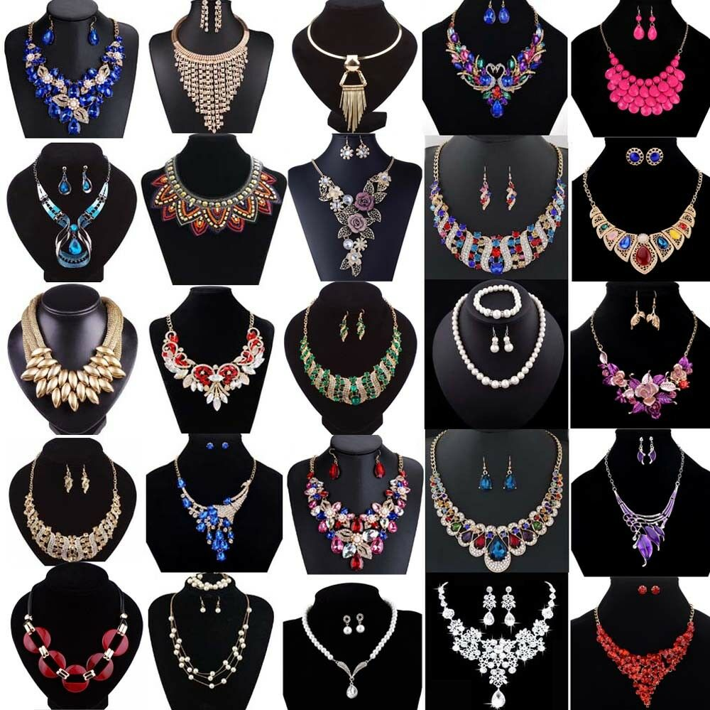$0.99 - Fashion Crystal Pendant Bib Choker Chain Statement Necklace Earrings Jewelry Set