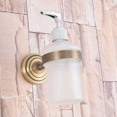 Antique Brass Kitchen Bathroom Frosted Glass Pump Soap Dispenser Holder eba743
