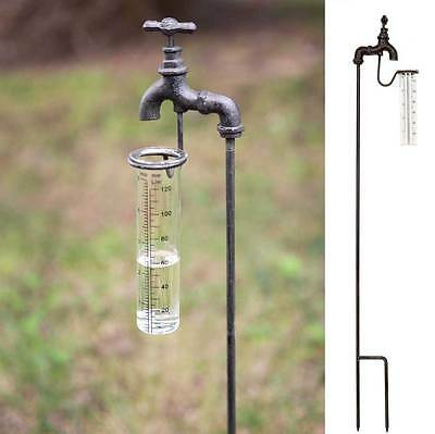 Primitive/Farmhouse/Cottage/Country Water Spigot Garden Stake Rain Gauge