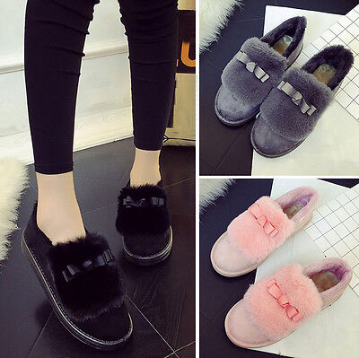 Fashion Women Boots Flat Bowknot Ankle Fur Lined Winter Warm Lazy Snow Shoes