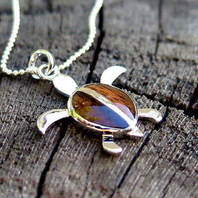 Koa Wood Hawaiian Honu Sea Turtle Silver Rhodium Plated Brass Pendant BRP1045 - Koa Sea Turtle