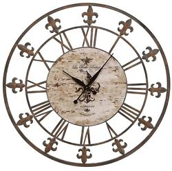 Wall Clock Large 36 Weathered Aged Rustic Wrought Iron Oversized Clocks New
