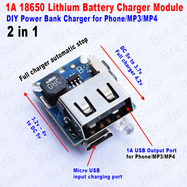 2 In 1 5v 1a Usb Phone Charger Module For 18650 Lithium Battery Diy