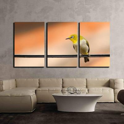 """Wall26 - a Bird Standing on the Wire - Canvas Art Wall Decor - 16""""x24""""x3 Panels"""