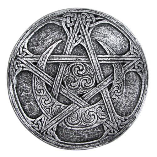 Moon Pentacle Plaque Dryad Design Wicca Pentagram Altar Decoration Silver Finish