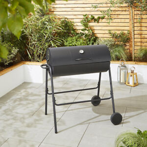 Tesco Steel Barrel Charcoal Barbecue with Temperature Thermometer Black BBQ