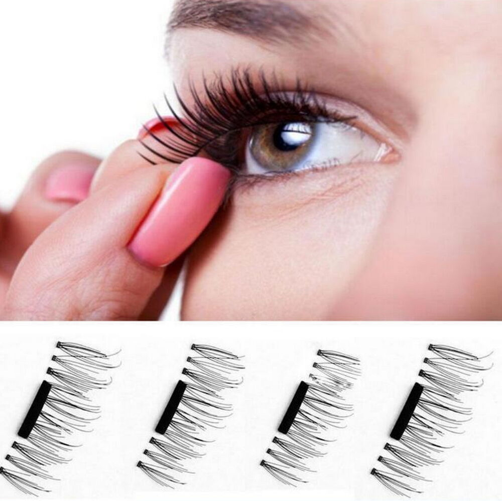 4 Pcs/2 Pairs 3D Magnetic False Eyelashes Natural Eye Lashes Extension Handmade Health & Beauty