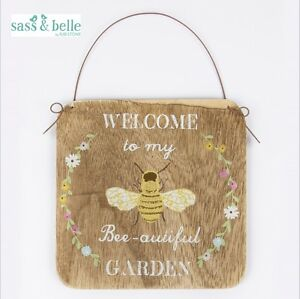 New Welcome To My Bee-autiful Garden Wall Hanging Sign Plaque Wood Country
