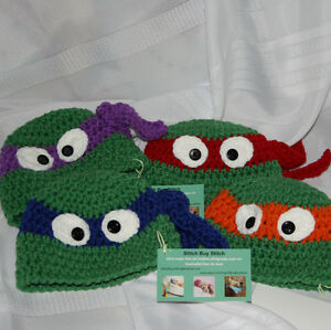 Crochet TMNT Teenage mutant ninja turtles hat and 2 matching arm
