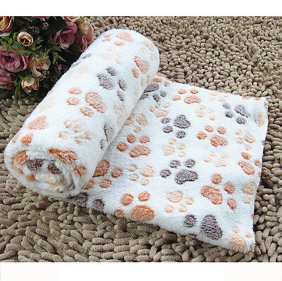 New Warm Pet Mat Small Large Paw Print Cat Dog Puppy Fleece Soft Blanket BG/S