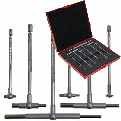 Telescoping T Bore Gauge 6 Pc Cylinder Hole Smooth Gage Professional Set Wcase