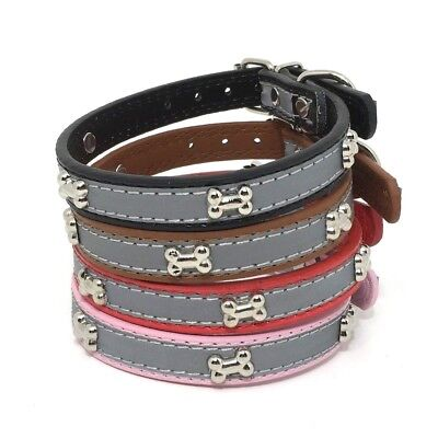 (ADJUSTABLE DOG BONE COLLAR STRIPE REFLECTIVE SZ SMALL SYNTHETIC LEATHER 0.5