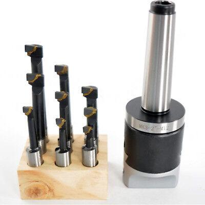 2 Boring Head 9pcs 12 Carbide Boring Bars With Mt3 M12 Bridgeport Milling