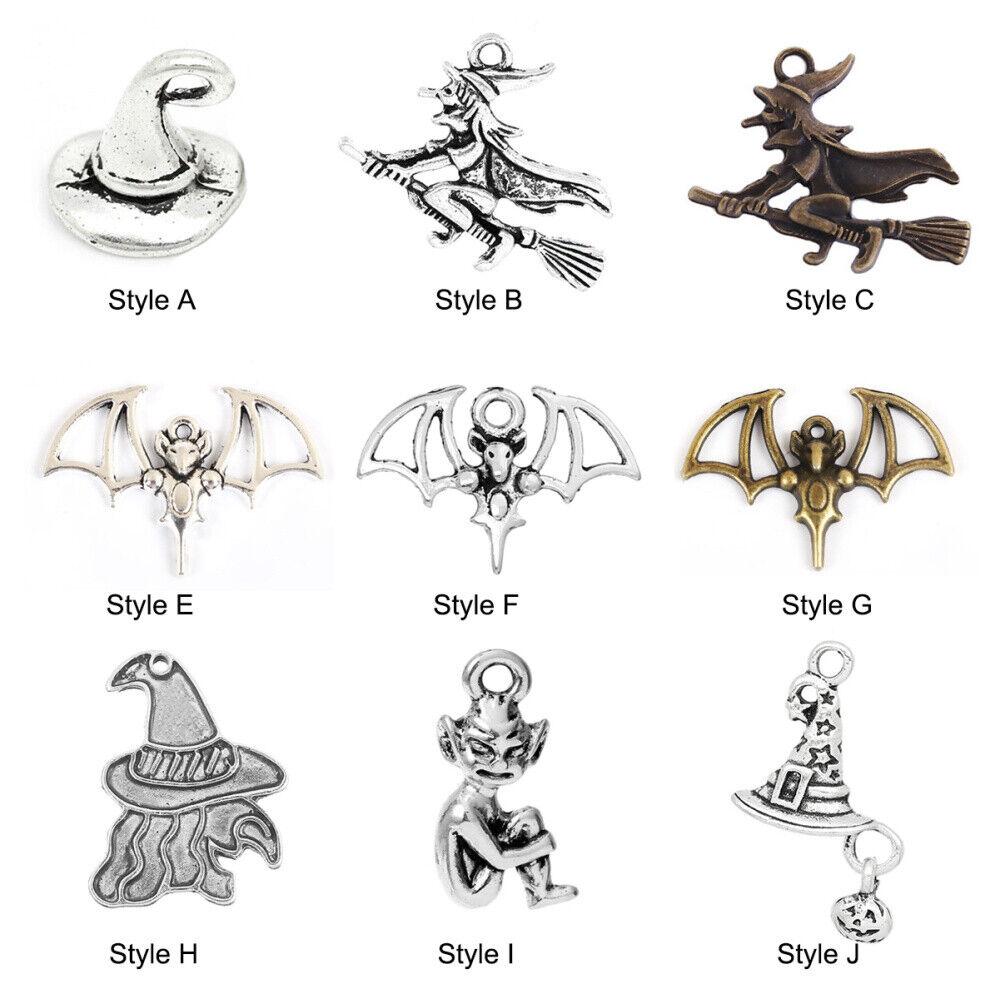 20 Halloween Witch Bat Spirit Shape Charms Pendants DIY