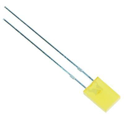 50 x Yellow Rectangular 2 x 5mm Diffused LED 50mcd 160°