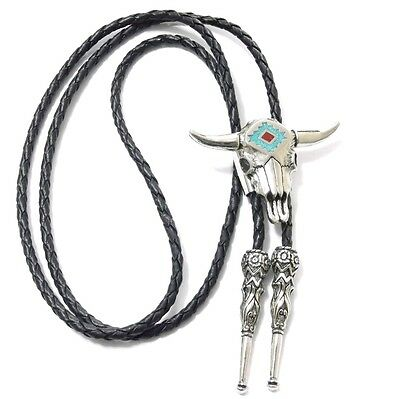 STEER SKULL TURQUOISE CHIP INLAY BOLO TIE 17244 new southwest western bolo ties