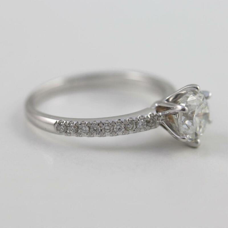 Earth Mined 1.21 Ct Elegant Round Brilliant Diamond Ring 14k White Gold Womens