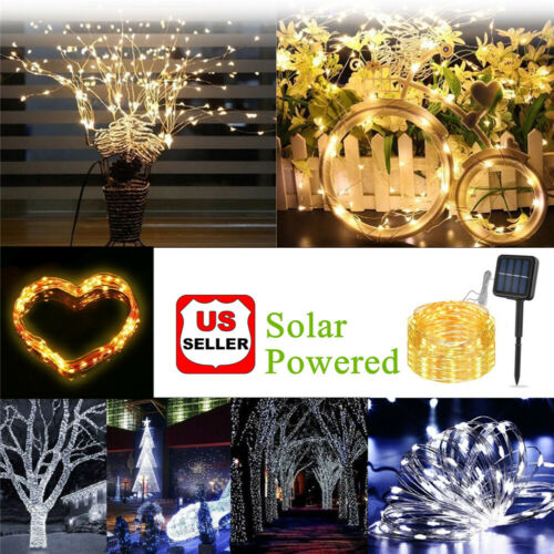 Solar LED String Lights 100 Copper Wire 33ft Waterproof Outdoor Fairy LED Decor Home & Garden
