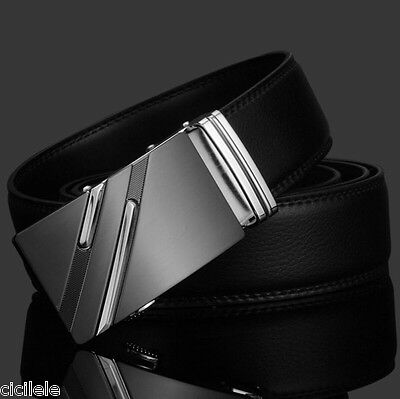 Luxury Men's Genuine Leather Automatic Buckle Black Waist Strap Belt Waistband