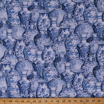 Cotton Ginger Jars Blue White Vases China Dishes Cotton Fabric Print BTY D372.07