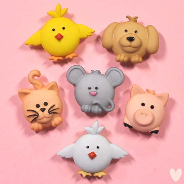 DRESS IT UP Buttons Pudgy Pets 6557 - Embellishments Cat Dog Chick Mouse Pig