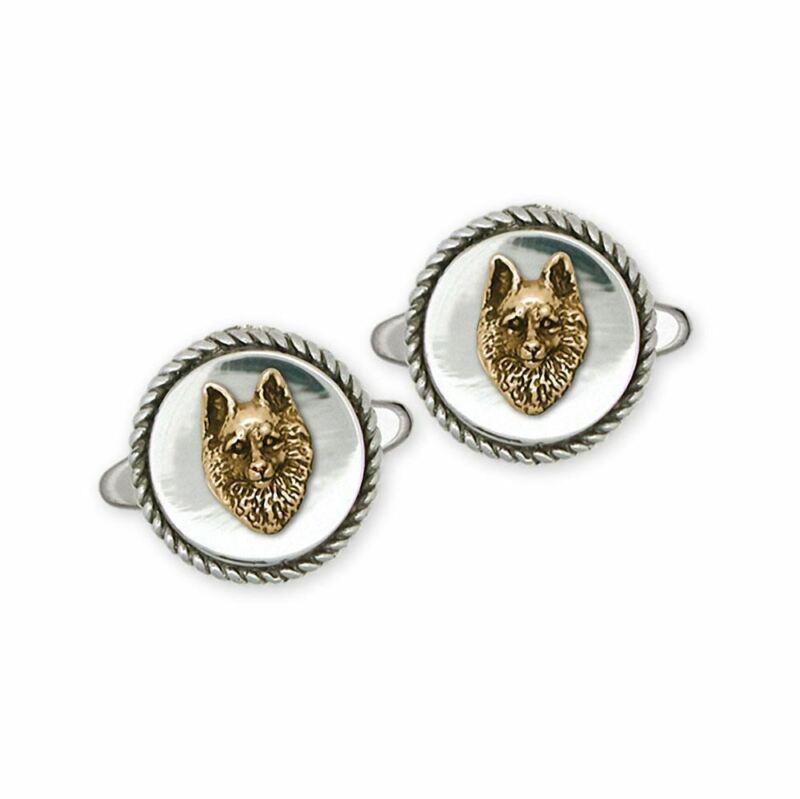 Schipperke Jewelry Silver And Gold Schipperke Cufflinks Handmade Dog Jewelry SC1