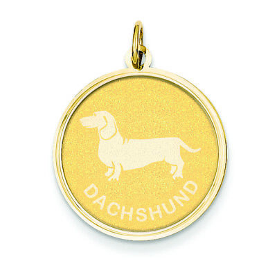 14K Yellow Gold Dachshund Dog Disc Charm Pendant MSRP $280 (Dachshund Disc Charm)
