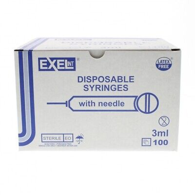 Brand New Exel Luer-lock 3ml3cc 23g X 1in 1 Box Of 100