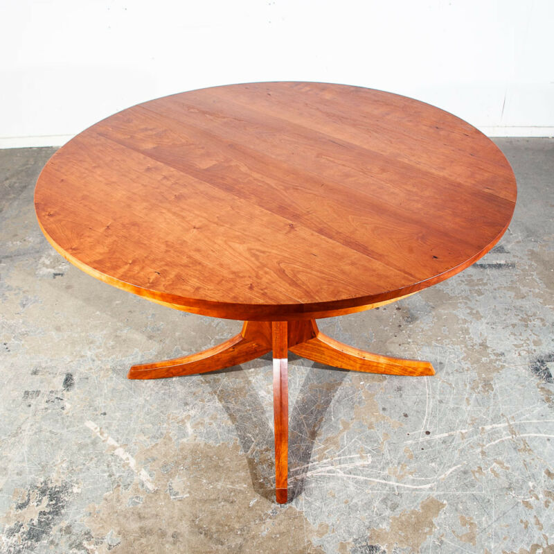 Mid Century Modern Dining Table Solid Cherry Wood Sculpted Round Custom Vintage