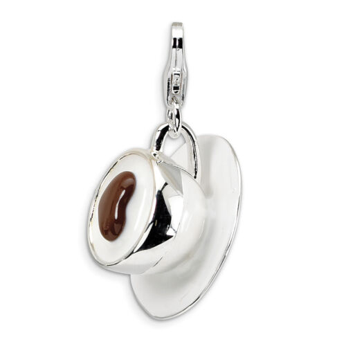 Cappuccino Charme 3D EMAILLE .925 Argent Sterling Clip On Amore la vita
